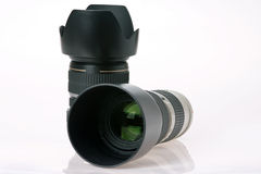 Two professional camera lens Stock Photos