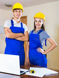 Two professional designers did great work  indoors Royalty Free Stock Photography
