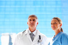 Two professional doctors looking away Royalty Free Stock Image