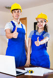 Two professional engineer did great work  indoors Royalty Free Stock Photos