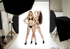 Two professional models posing in the studio Professional model Royalty Free Stock Photos