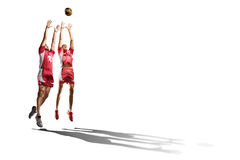 Two professional volleyball players isolated on white Royalty Free Stock Photo