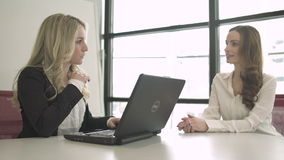 Two Professional Women in a Meeting (4 of 5). A group of attractive professional men and women are involved in a meeting. They actively communicate with each stock video footage