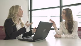 Two Professional Women in a Meeting (5 of 5). A group of attractive professional men and women are involved in a meeting. They actively communicate with each stock video