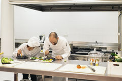 Two professionals chefs cooking together. Stock Photography