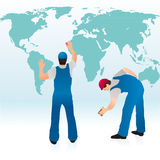 Two professionals cleaning the world`s map. Two professionals cleaning the blue world`s map vector illustration