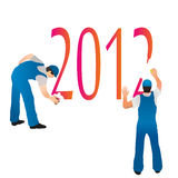 Two professionals erasing the 2012 symbols. Two professionals erasing 2012 symbols royalty free illustration