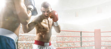 Two professionl boxers are fighting on arena. Two professionl boxers are fighting on the grand arena Stock Photo