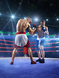 Two professionl boxers are fighting on arena Royalty Free Stock Photos