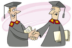 Two professors. Cartoon vector illustration of two professors shaking hands Stock Photography