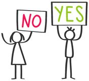 Two protesting stick figures, man and woman holding up boards saying YES and NO. Isolated on white background Royalty Free Stock Photos