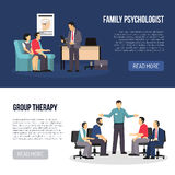 Two Psychologist Banners vector illustration