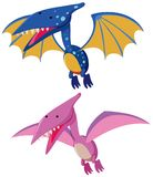 Two pterosaurs in blue and pink. Illustration Royalty Free Stock Photo