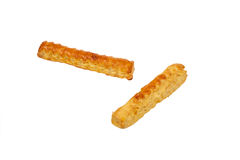 Two  puff pastry sticks on isolated background Royalty Free Stock Photo