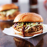 Two pulled pork barbecue sandwiches Stock Photos