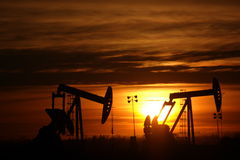 Two pumpjacks Stock Photography
