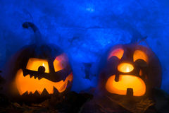 Two pumpkin photo for a holiday Halloween. Royalty Free Stock Images