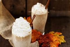 Two Pumpkin Spice Iced Coffees Stock Photo