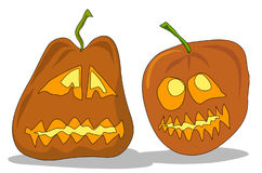 Two pumpkins. Illustration decorative helloween smile pumpkins Royalty Free Stock Photography
