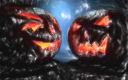 Two pumpkins on halloween, draw effect stock illustration