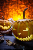 Two pumpkins for Halloween Royalty Free Stock Photography