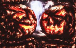 Two pumpkins from hell, drawning effect Stock Image