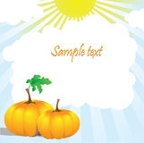 Two pumpkins and leaves in the sun. Vector illustration with a place for text Stock Images