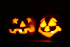Two pumpkins out of focus. Two decorative pumpkins out of focus Stock Image