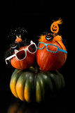 Two  pumpkins wearing a halloween costume headbands. Witch hat, bat and spider. Royalty Free Stock Photography