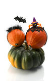 Two  pumpkins wearing a halloween costume headbands. Witch hat, bat and spider. Stock Photo