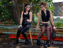 Two punk woman taking a bereak Royalty Free Stock Photo