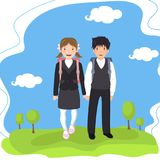 Two pupils with backpack go to school holding hands. Landscape background stock illustration