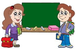 Two pupils with blackboard. Vector illustration Royalty Free Stock Photo