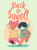 Two pupils, boy and girl running to school holding hands. Hand drawn lettering phrase Back to school. Vector Stock Photo