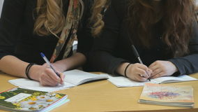 Two pupils decide tasks in copybooks at lesson. Two pupils sitting at the desk decide the tasks in the copybooks at the lesson stock footage