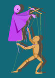 Two puppets control each other. Puppet on a stick and a puppet control each other, illustration Stock Photo