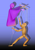 Two puppets control each other. Puppet on a stick and a puppet control each other, illustration Stock Photos