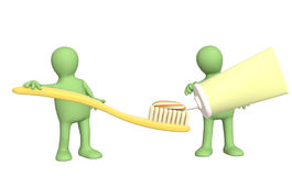 Two puppets with toothbrush Stock Photography