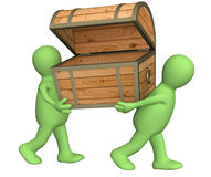 Two puppets with wooden box Royalty Free Stock Photos