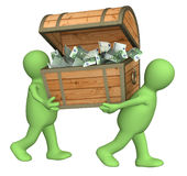 Two puppets with wooden box Stock Images