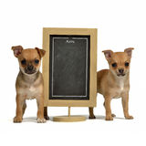 Two puppiea with menu blackboard Stock Photography