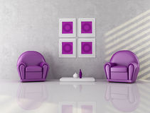 Two purple armchair Stock Photos