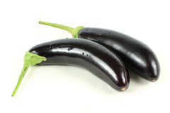 TWO PURPLE AUBERGINES. Royalty Free Stock Images