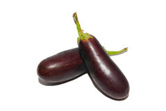 Two purple aubergines. Stock Photo