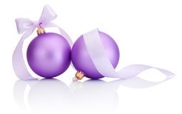 Two purple christmas balls with ribbon bow Isolated on white Stock Image