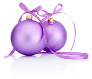 Two purple Christmas Bauble with ribbon bow Isolated on white Stock Photography