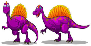 Two purple dinosaurs on white Stock Image