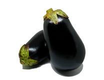 Two purple eggplants. Isolated Stock Image