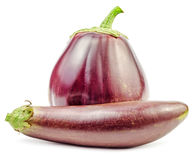 Two purple fresh raw eggplants isolated. On white background Stock Image