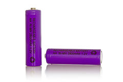 Two purple rechargeable batteries Royalty Free Stock Image